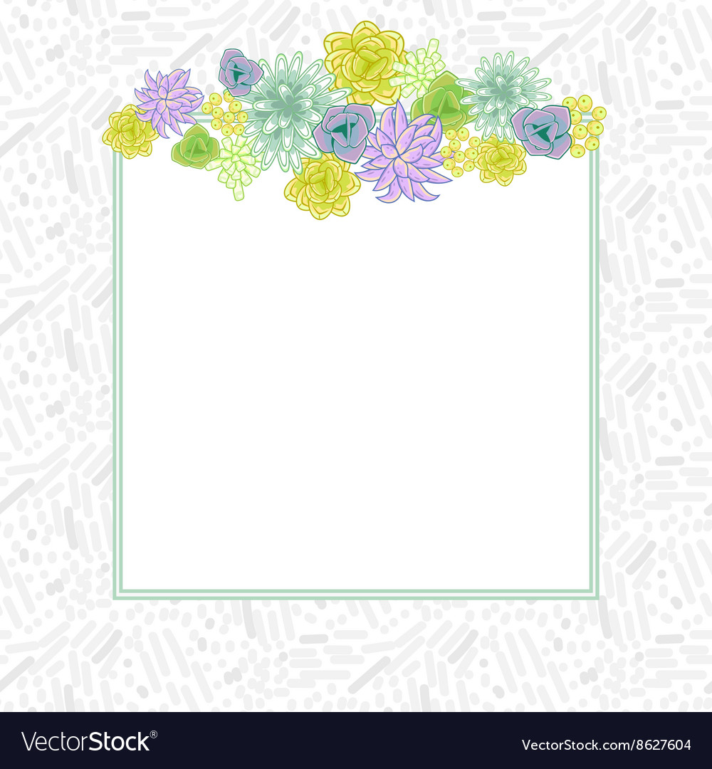 Flower square card template