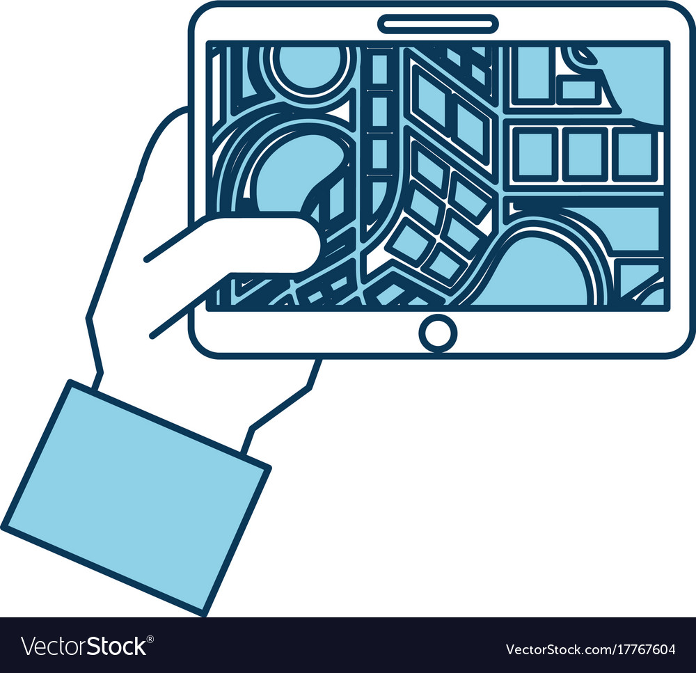 Hand holding tablet with city map navigator