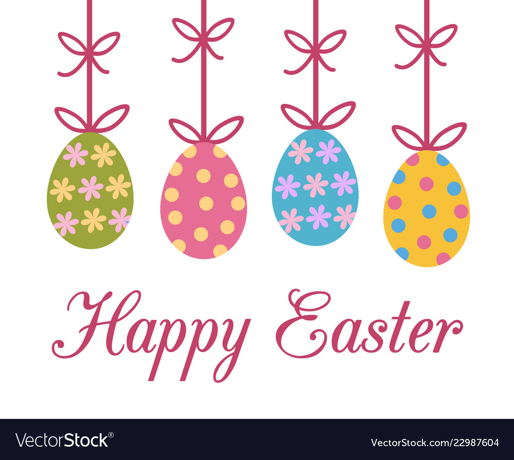 Happy easter greeting card with colorful