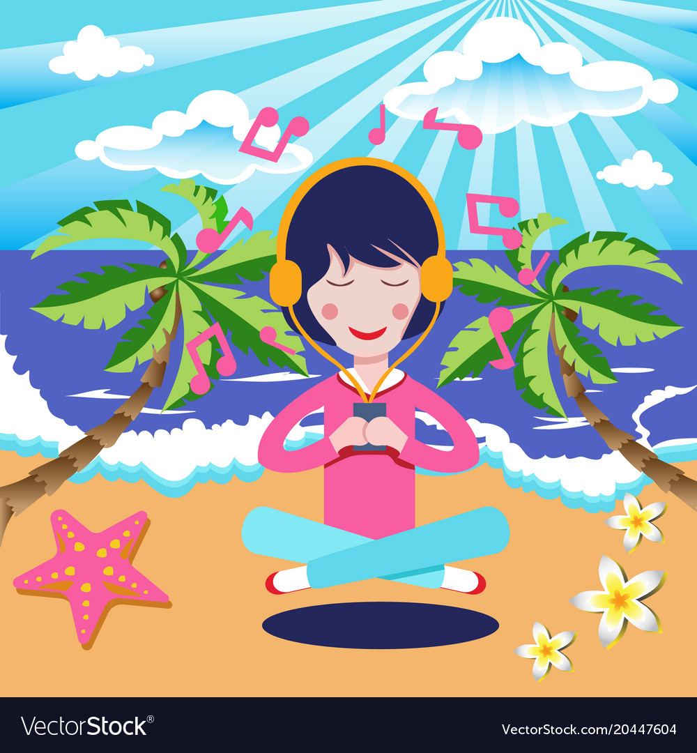 Happy girl with headphones listening to the music