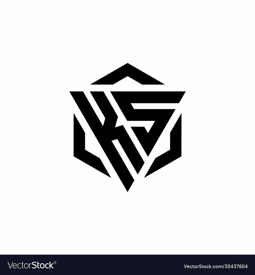 Ks Logo Monogram With Triangle And Hexagon Modern Vector Image