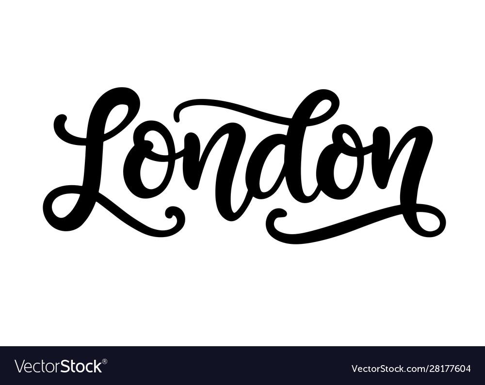 London city hand written brush lettering