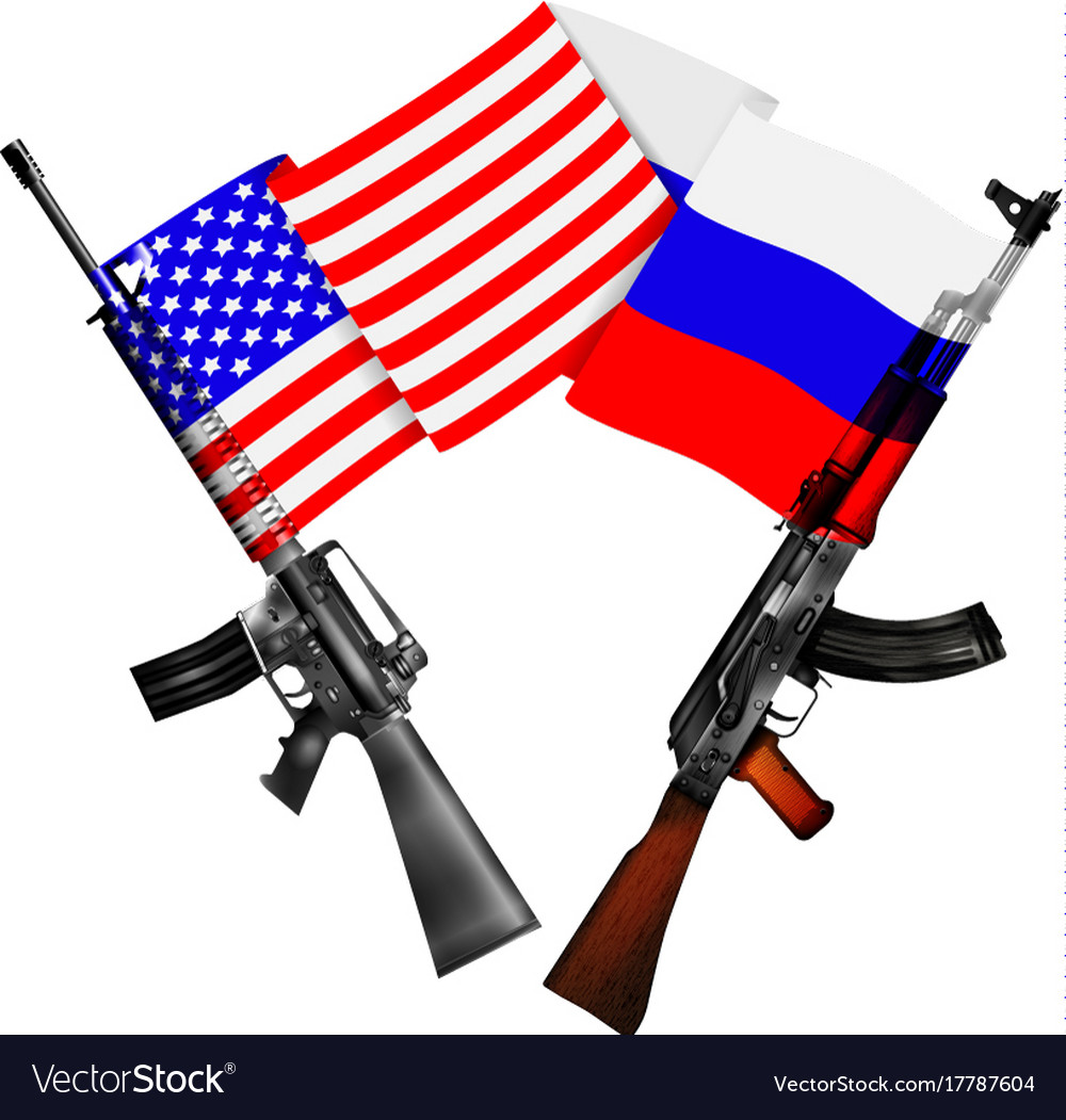Machine guns of the usa and russia with national vector image