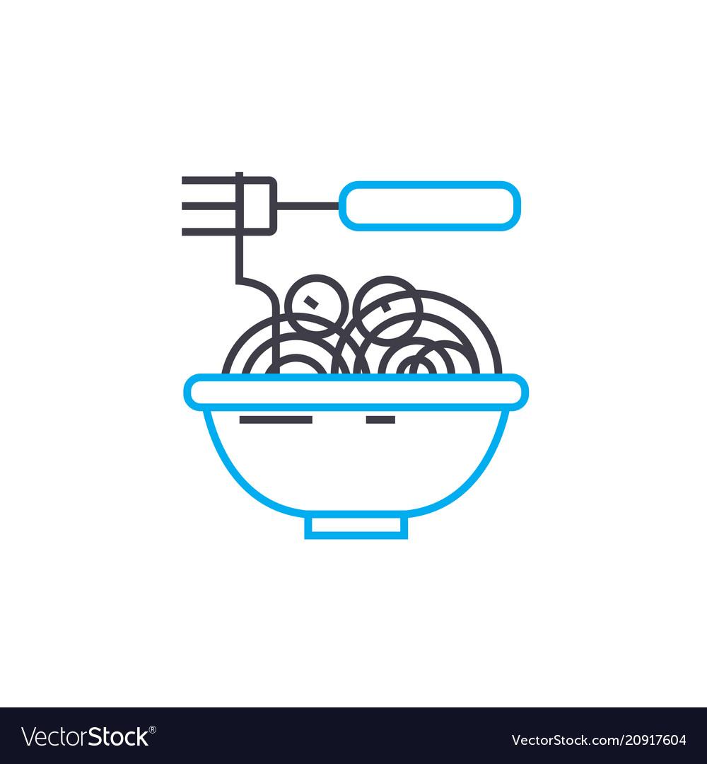 Noodles linear icon concept noodles line