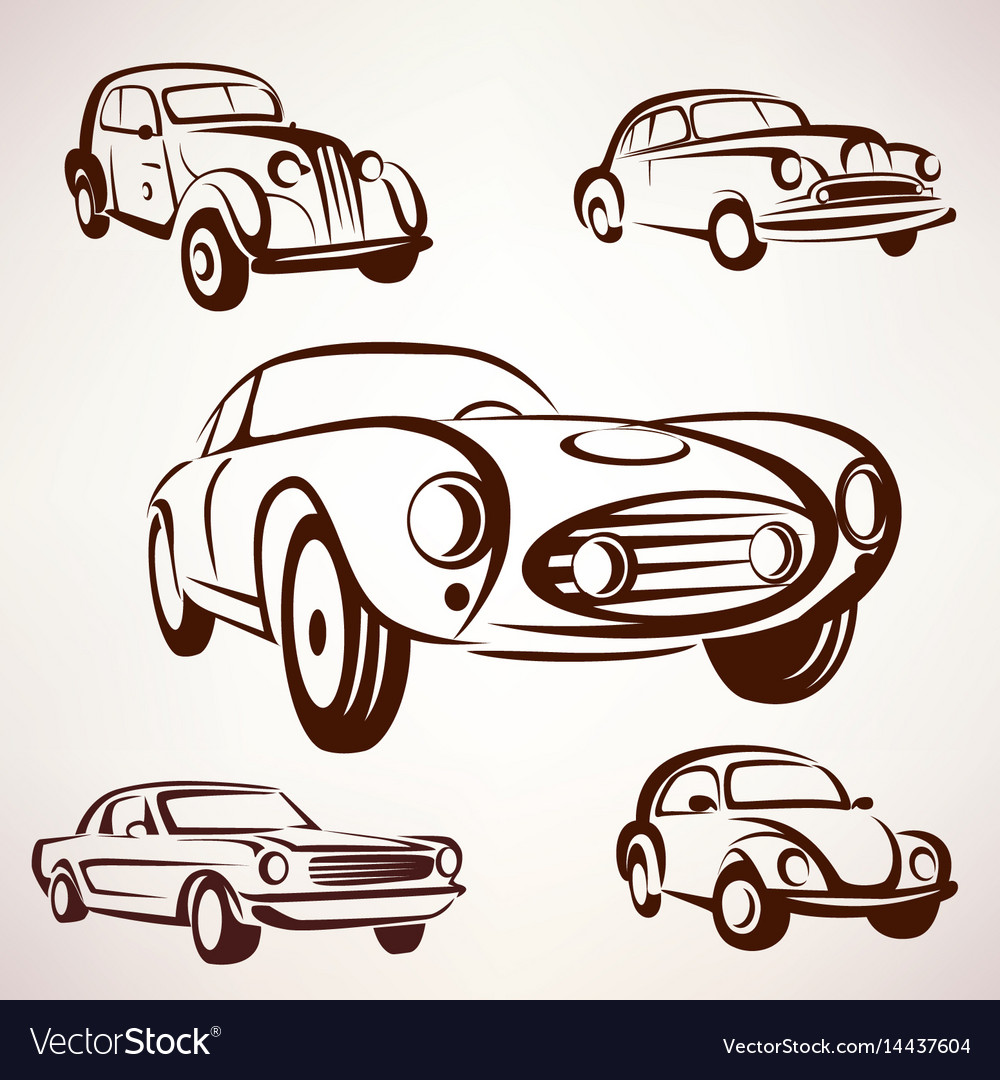 Retro cars collection deign elements fro labels