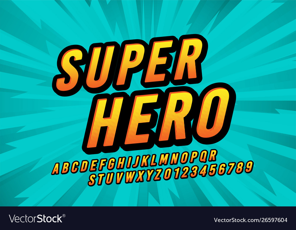 Retro super hero comic fun font design