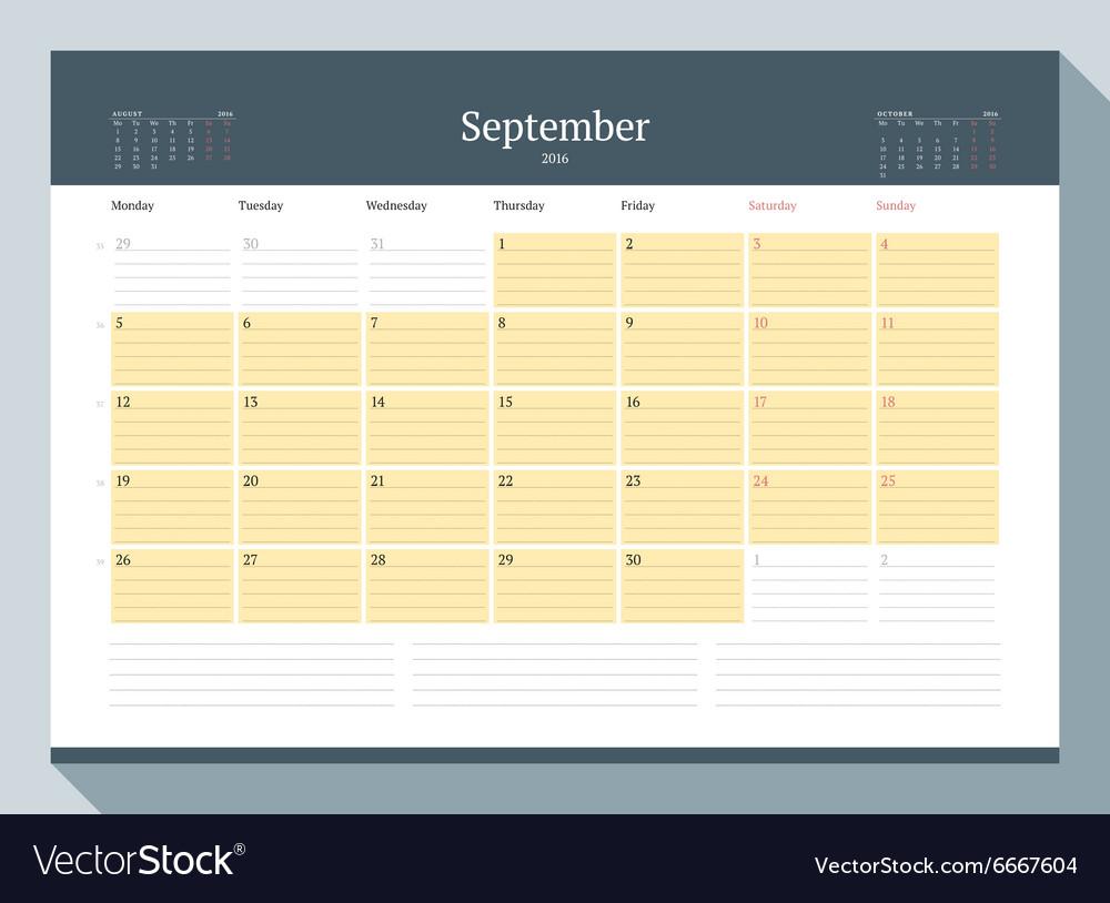 september 2016 monthly calendar planner for 2016 vector image