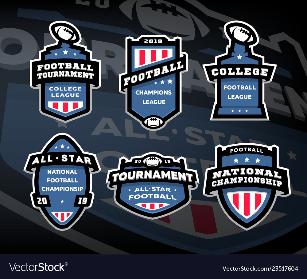 Set of american football logos emblems labels on
