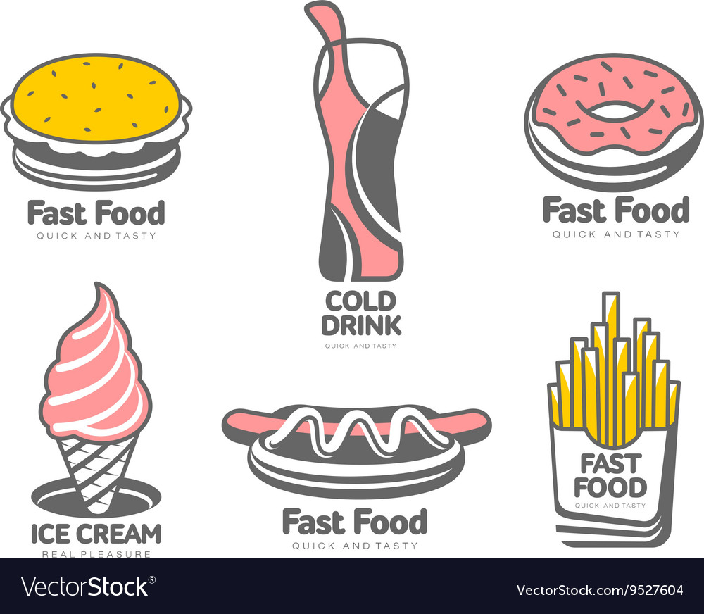 Set of logos with fast food