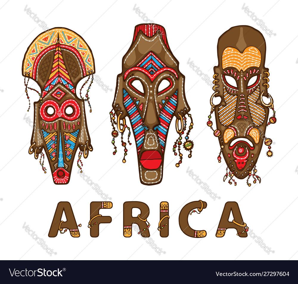 Set traditional african masks