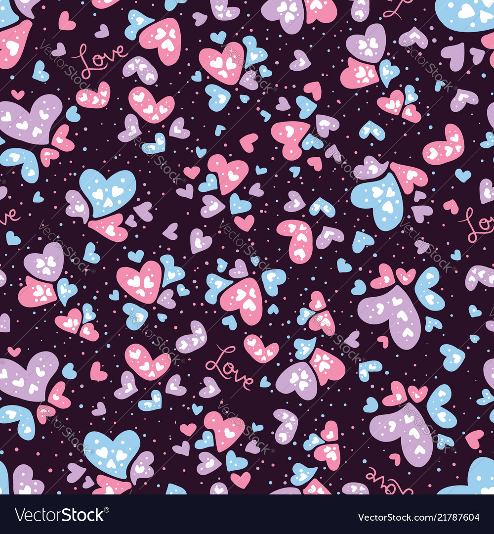 Valentine love and hearts seamless pattern
