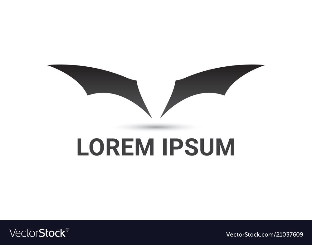 bat wings curve logo design template royalty free vector