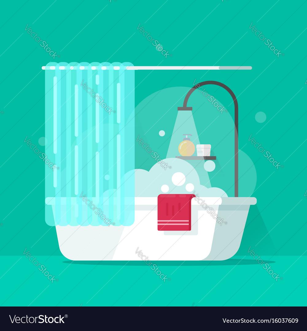 Bathroom Flat Cartoon Bath Royalty Free Vector Image