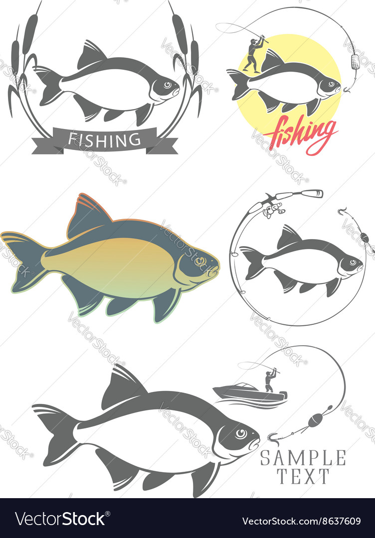 Bream fishing logo vector image