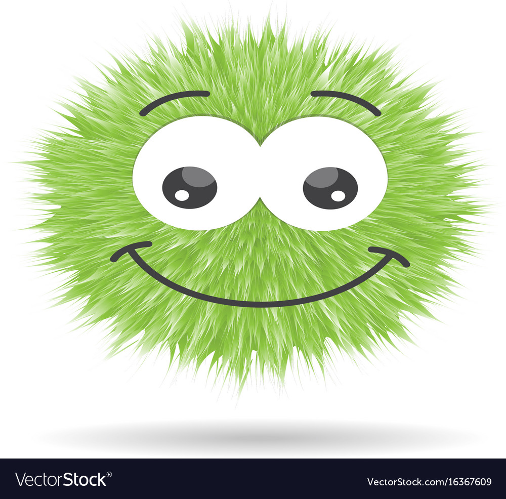 Fluffy pompom fur ball isolated emoticon vector image