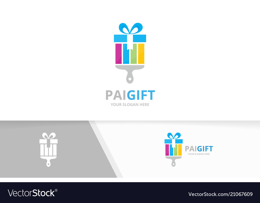 Gift and brush logo combination present