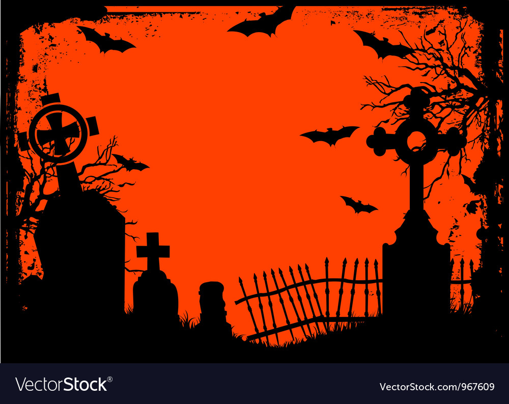 halloween cemetery royalty free vector image - vectorstock