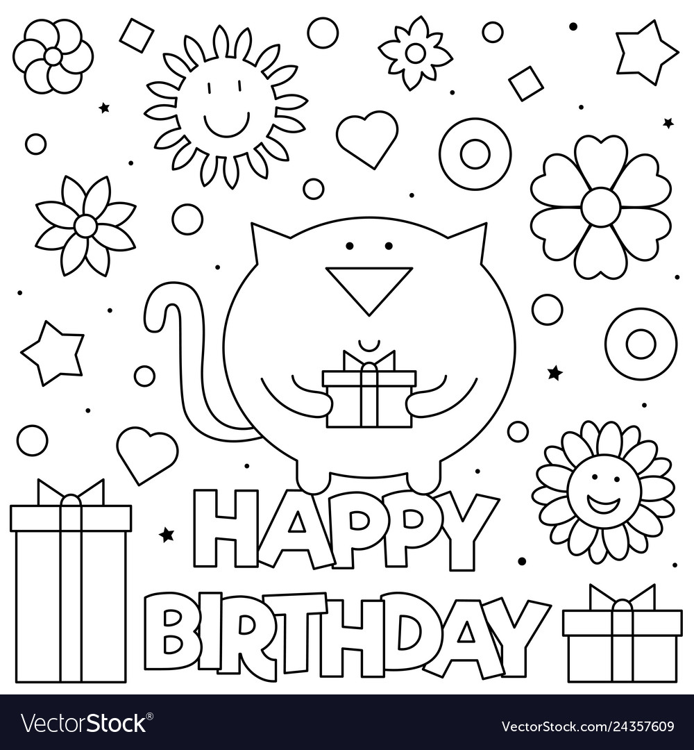 Happy Birthday Coloring Page Royalty Free Vector Image