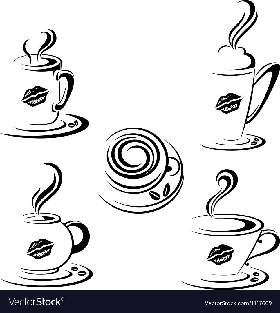 Hot Coffee Mugs vector image