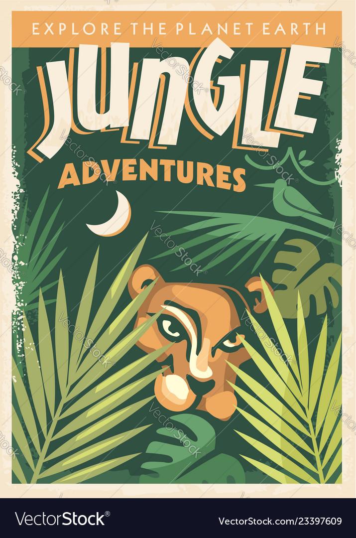 Jungle adventures retro poster design