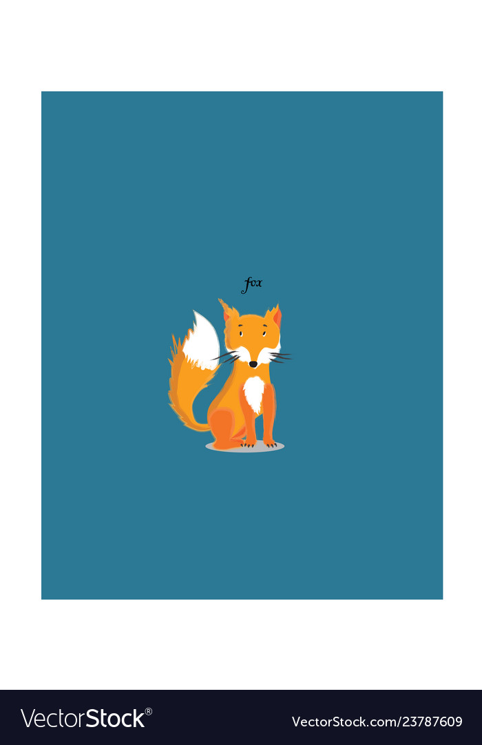 Red sitting fox cartoon character
