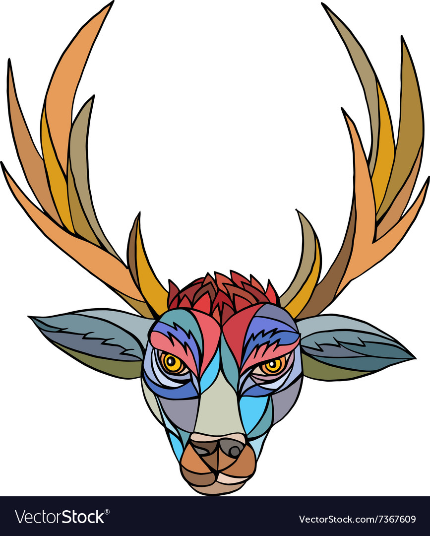 Red Stag Deer Head Mosaic vector image