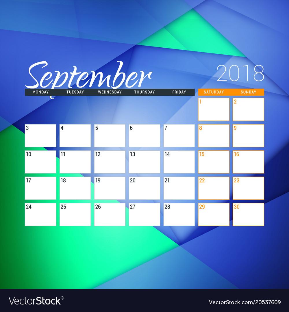 september 2018 calendar planner design template vector image
