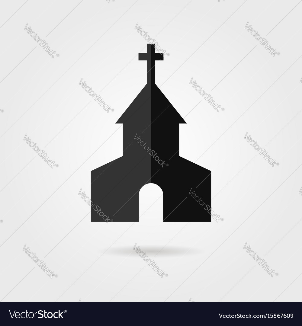 Simple black church icon with shadow
