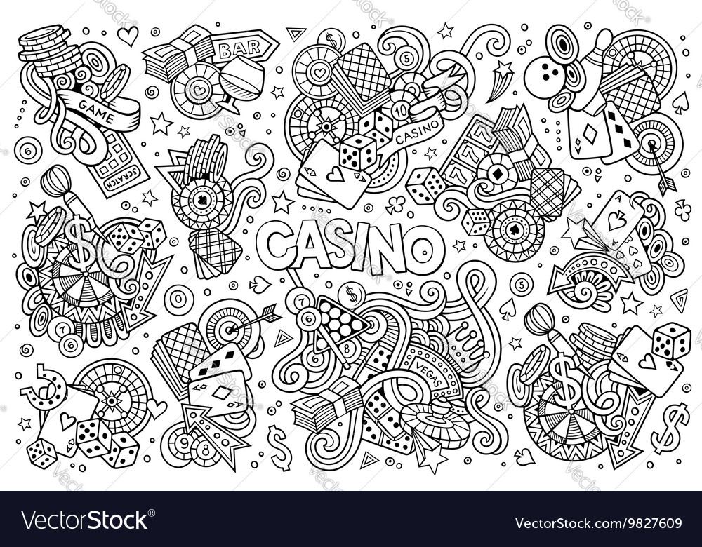 Sketchy hand drawn doodles cartoon set of