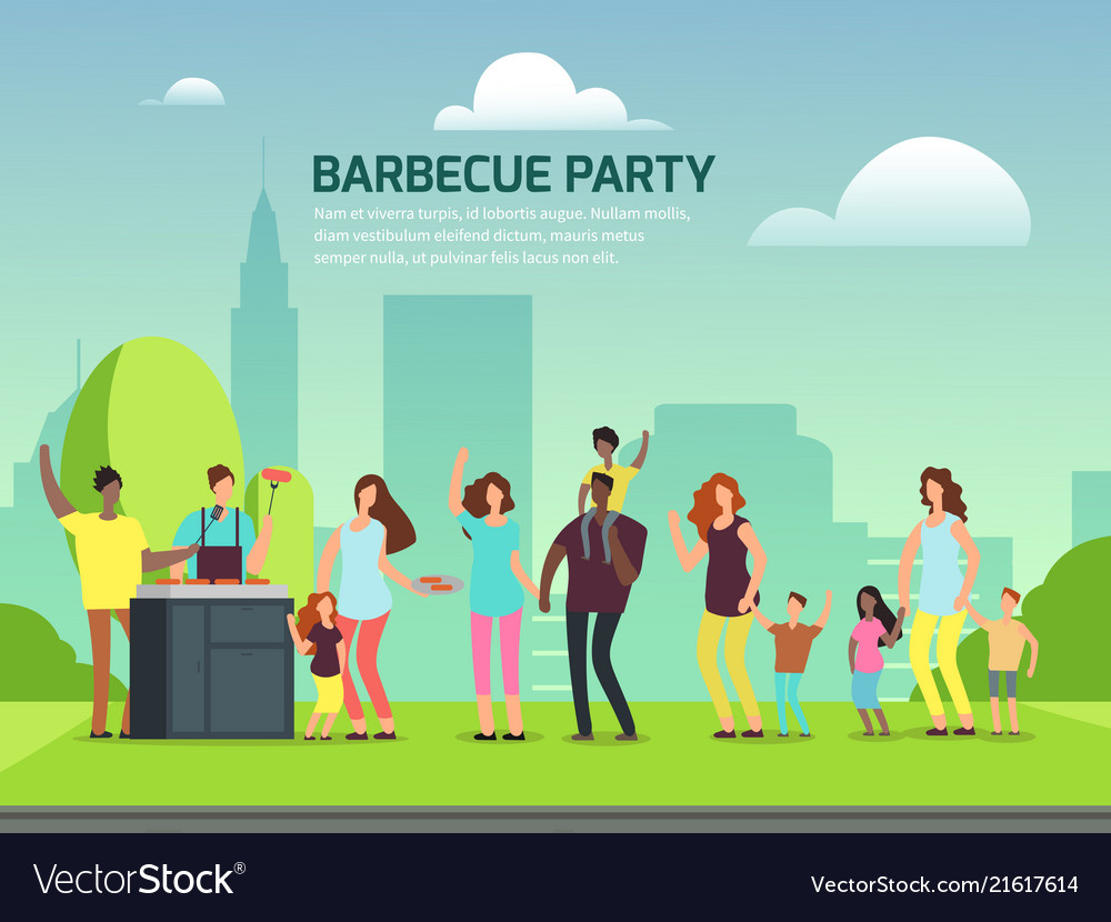 Barbecue party design cartoon character families
