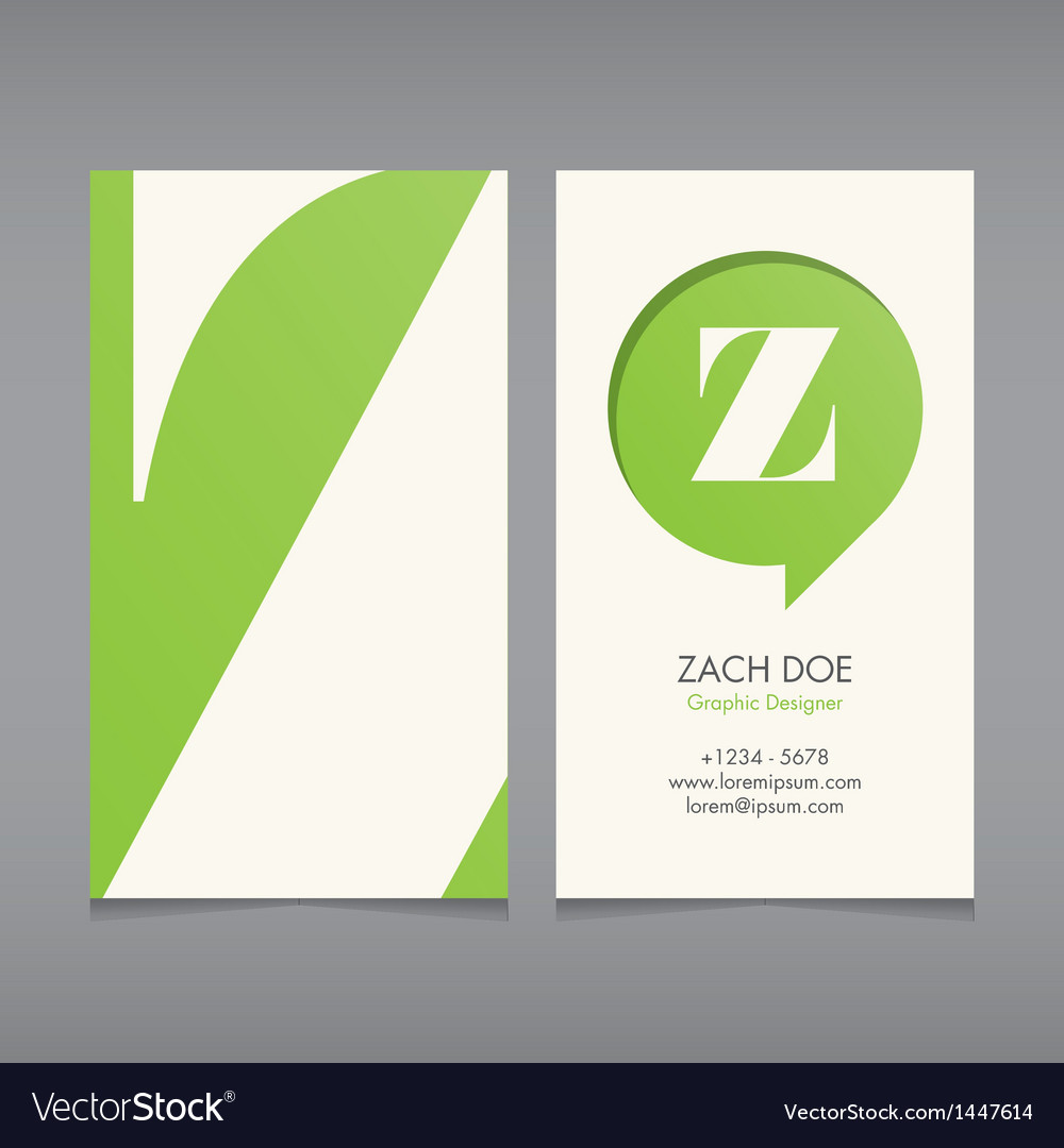 Business card template letter z