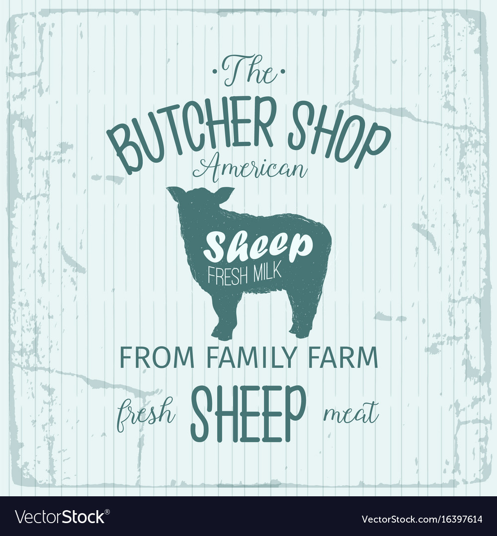 Butcher american shop label design with sheep