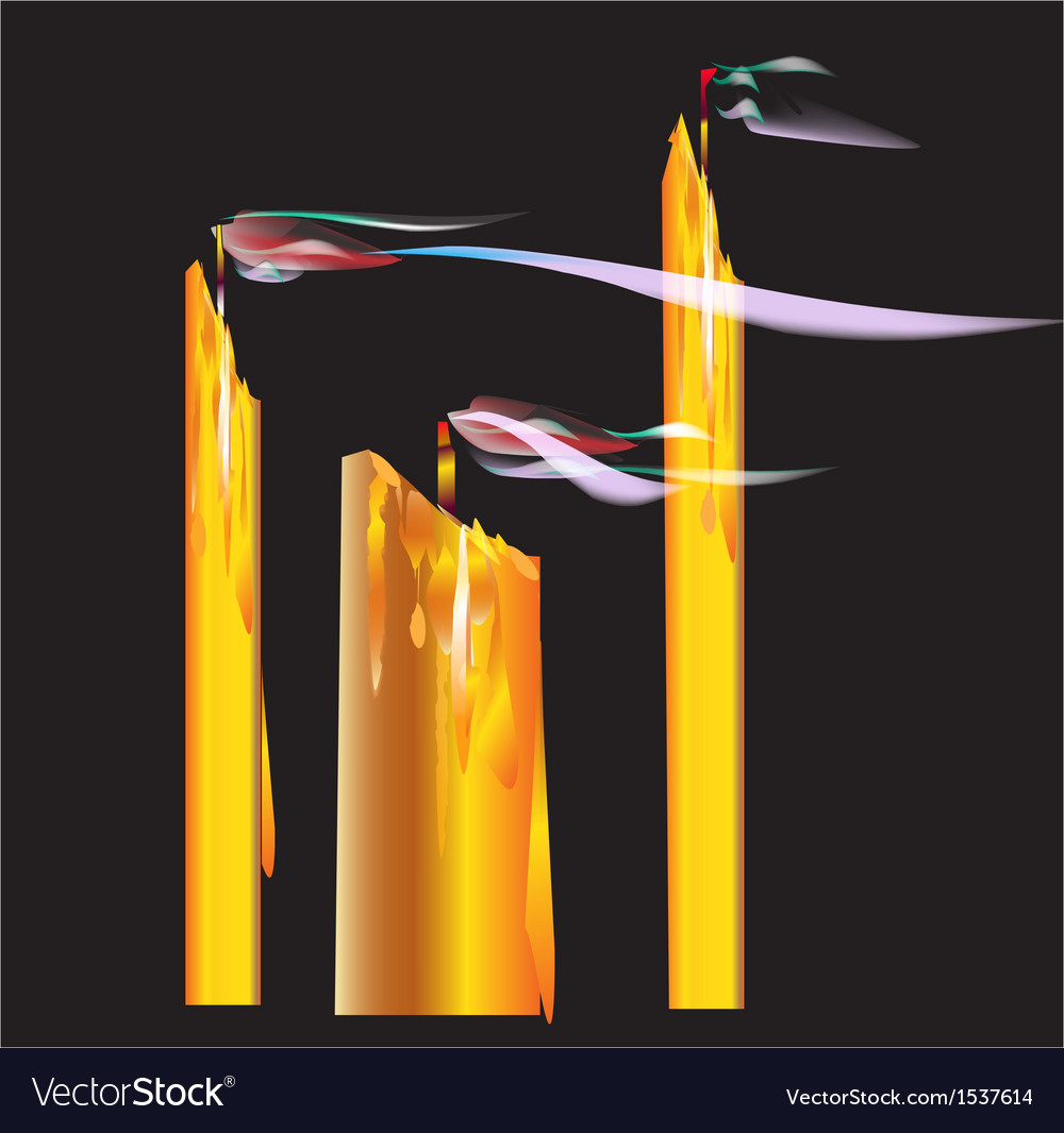 Candles blown off vector image