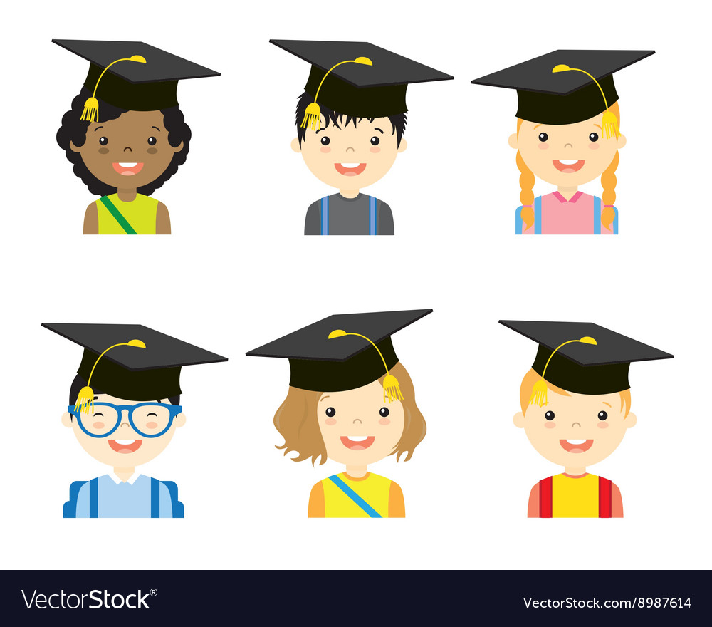 Children with graduation cap set vector image