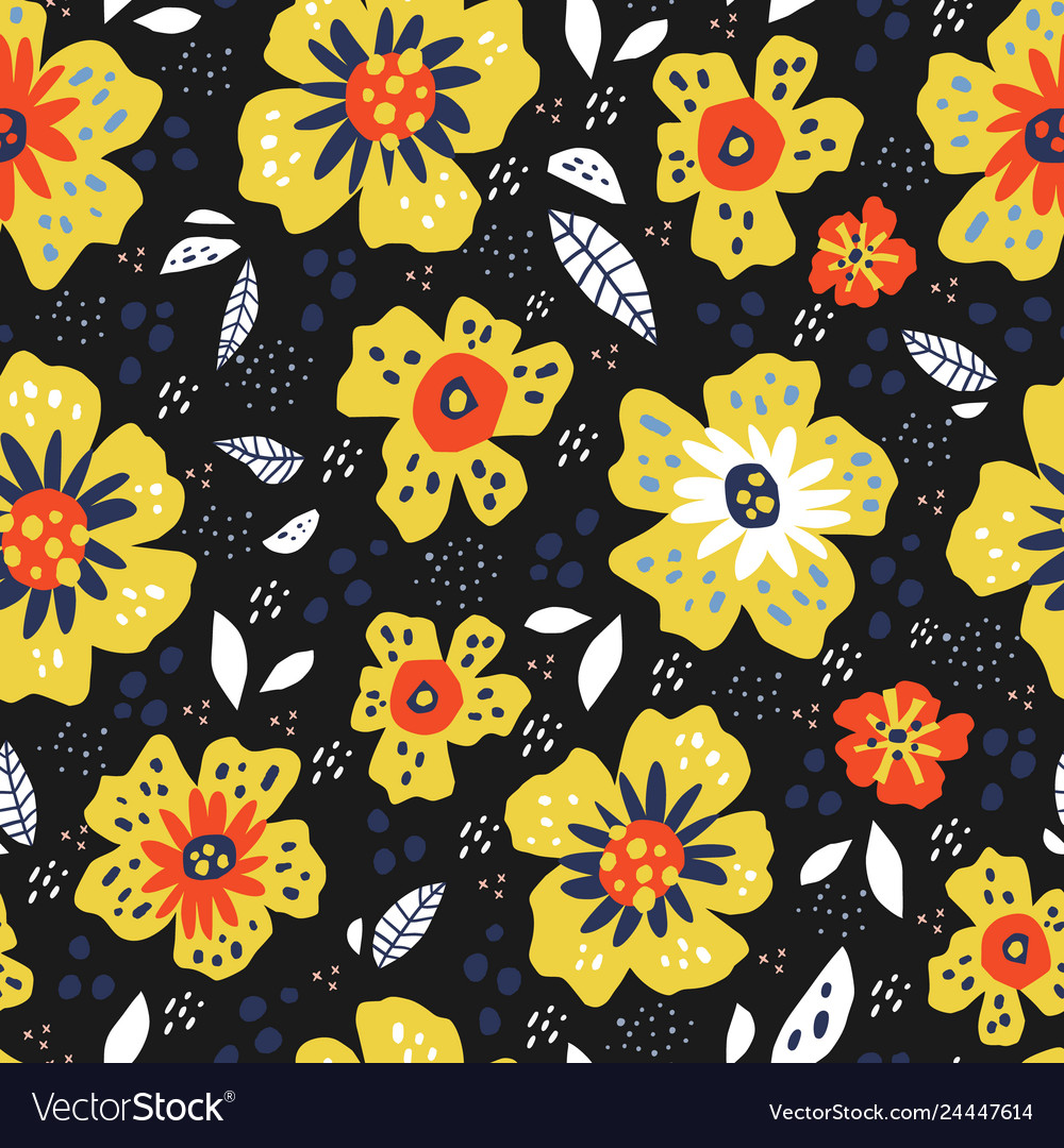 Flowers with leaves retro seamless pattern