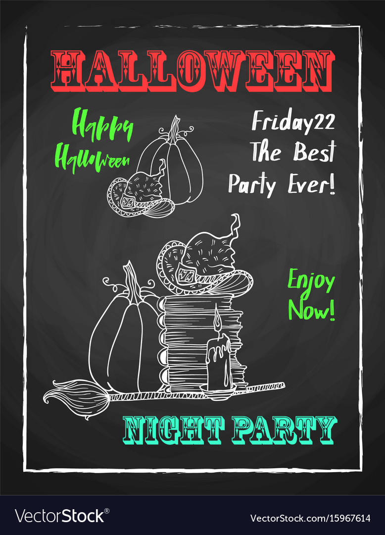 Happy halloween chalk poster for party textured