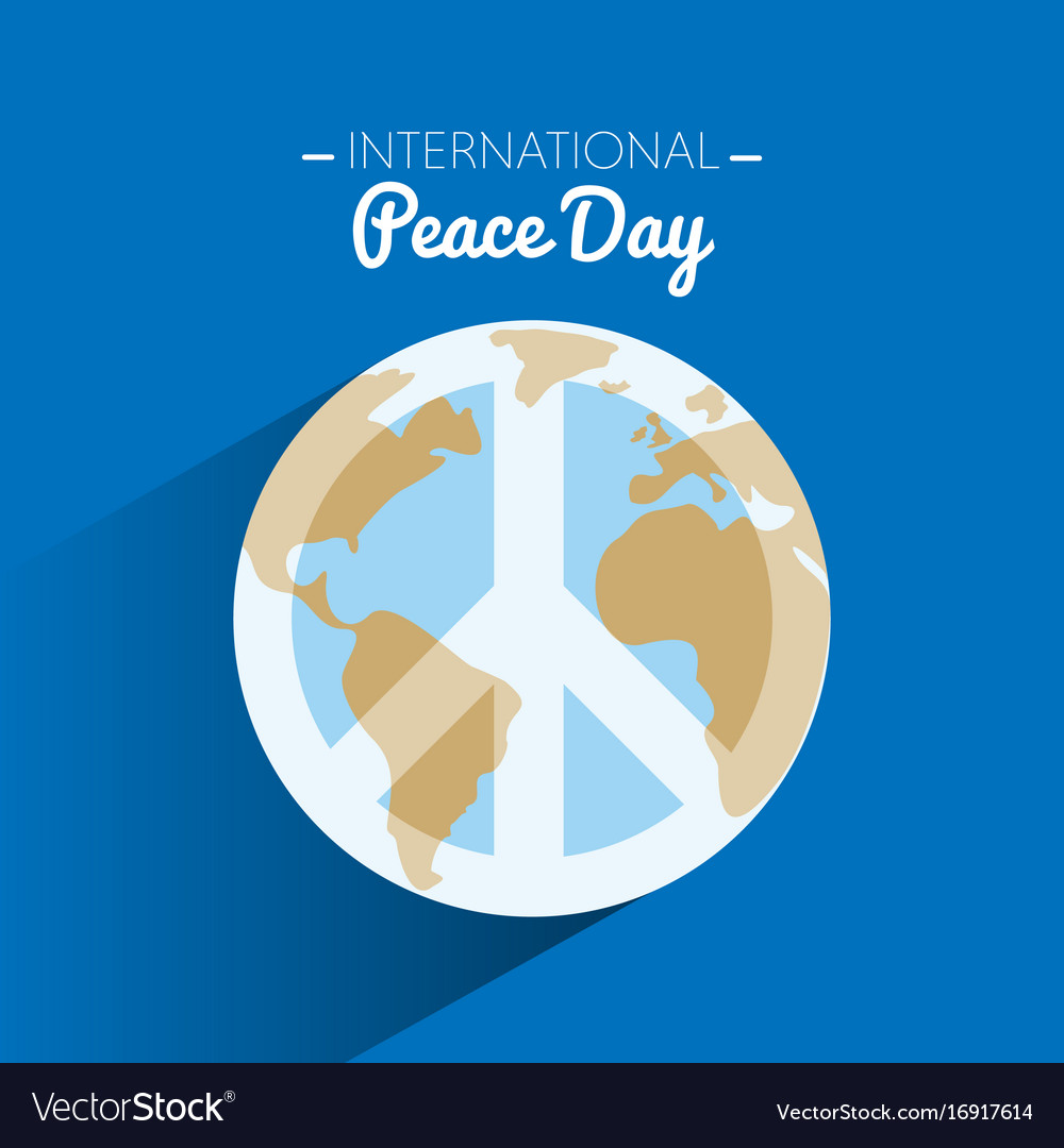 International Peace Day With Symbol Of Peace On Vector Image