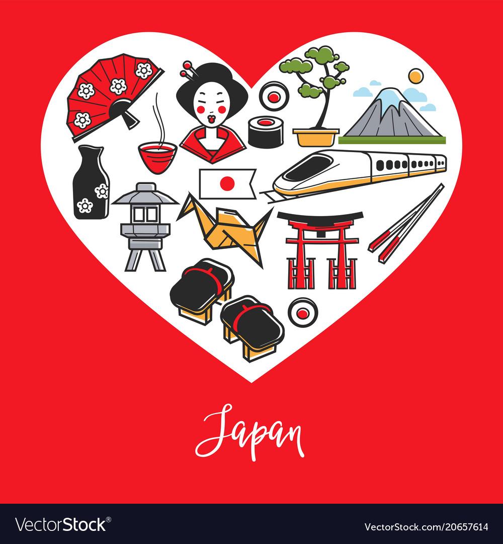 Japan National Symbols And Culture Elements Inside