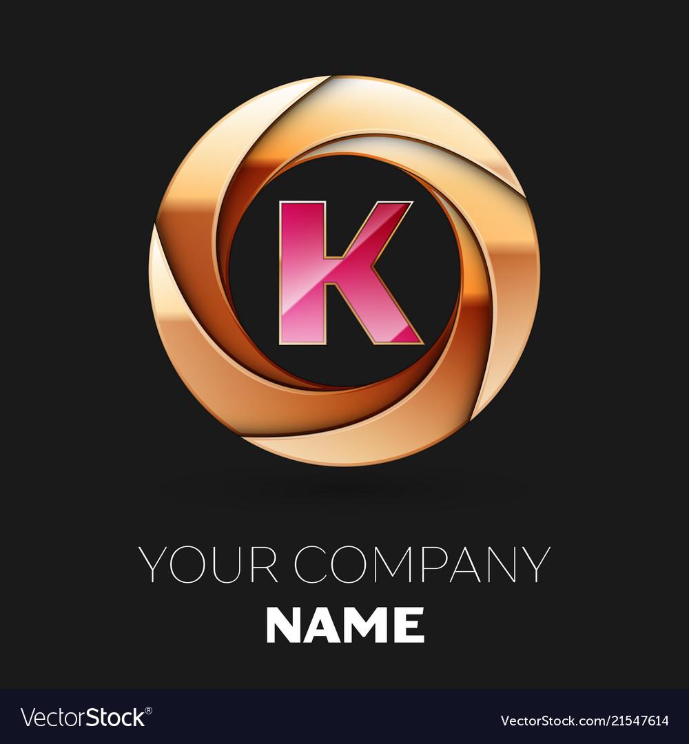 Pink Letter K Logo Symbol In Golden Circle Shape Vector Image