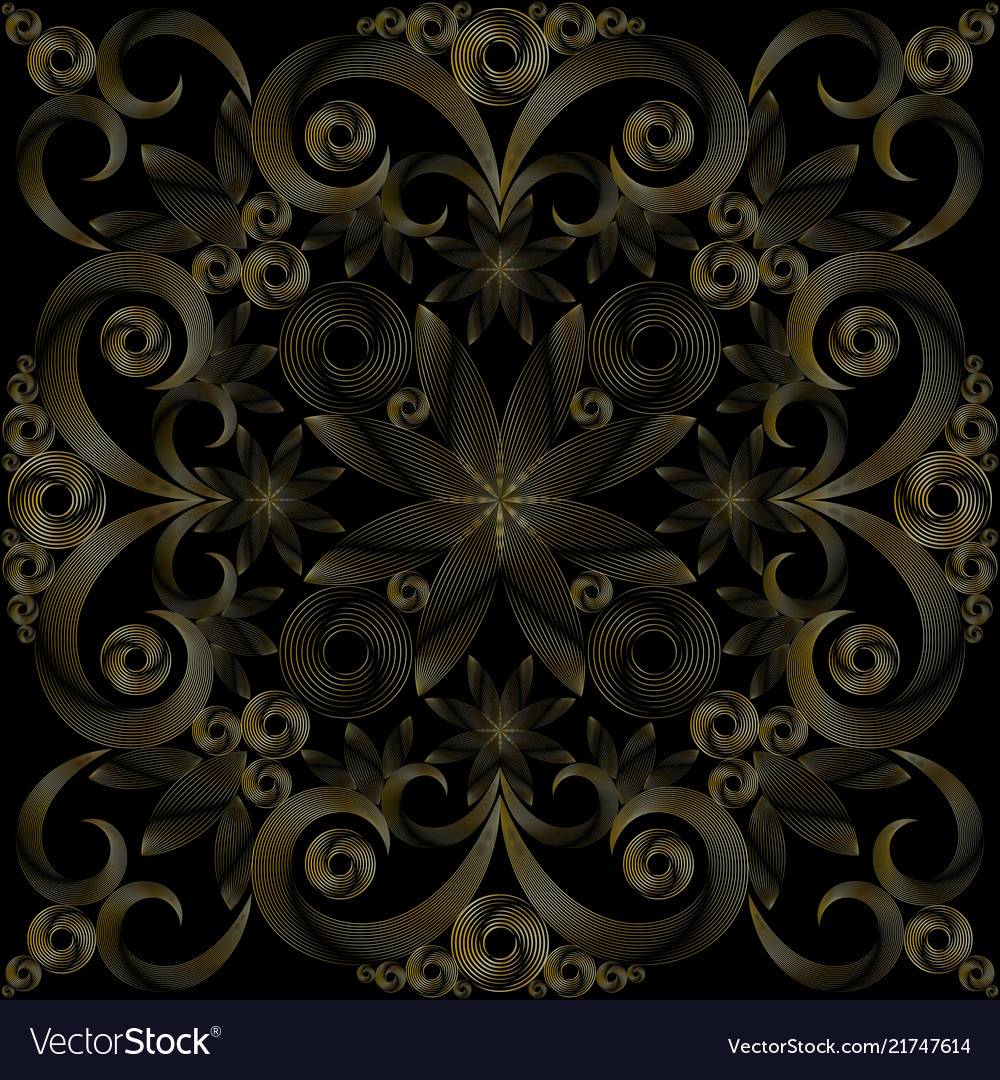 Seamless gold and black background