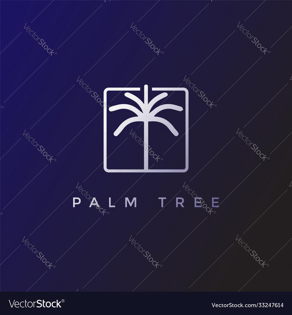 Simple minimalist palm coconut tree logo