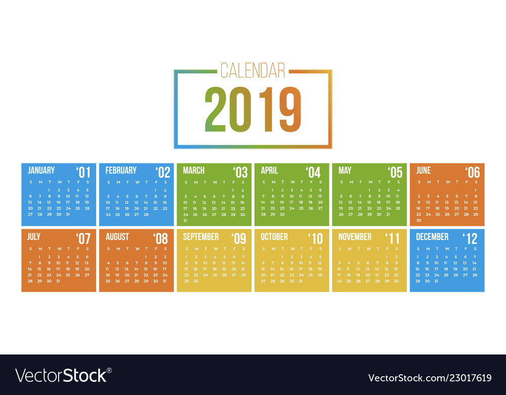 2019 new year calendar in clean minimal table