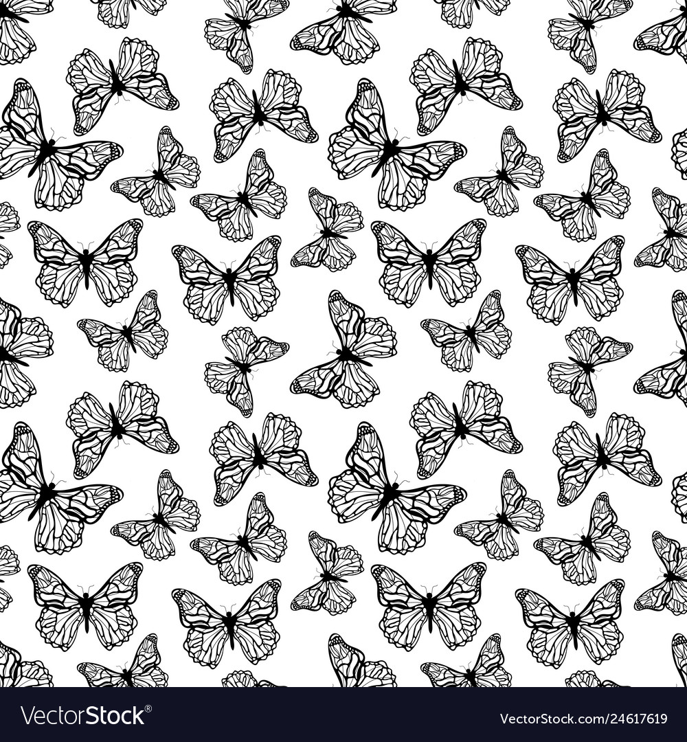 A lot black detailed butterflies icon seamless