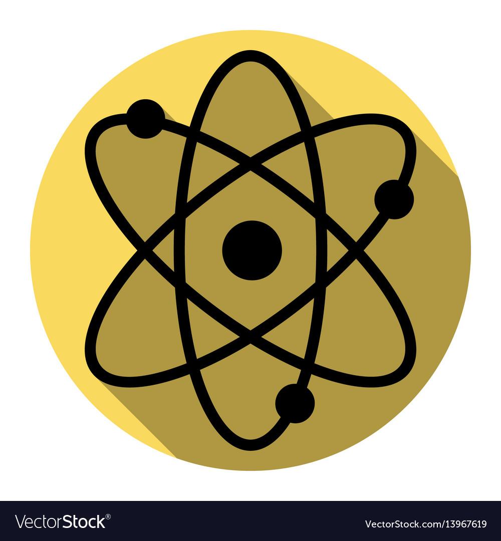 Atom sign flat black icon