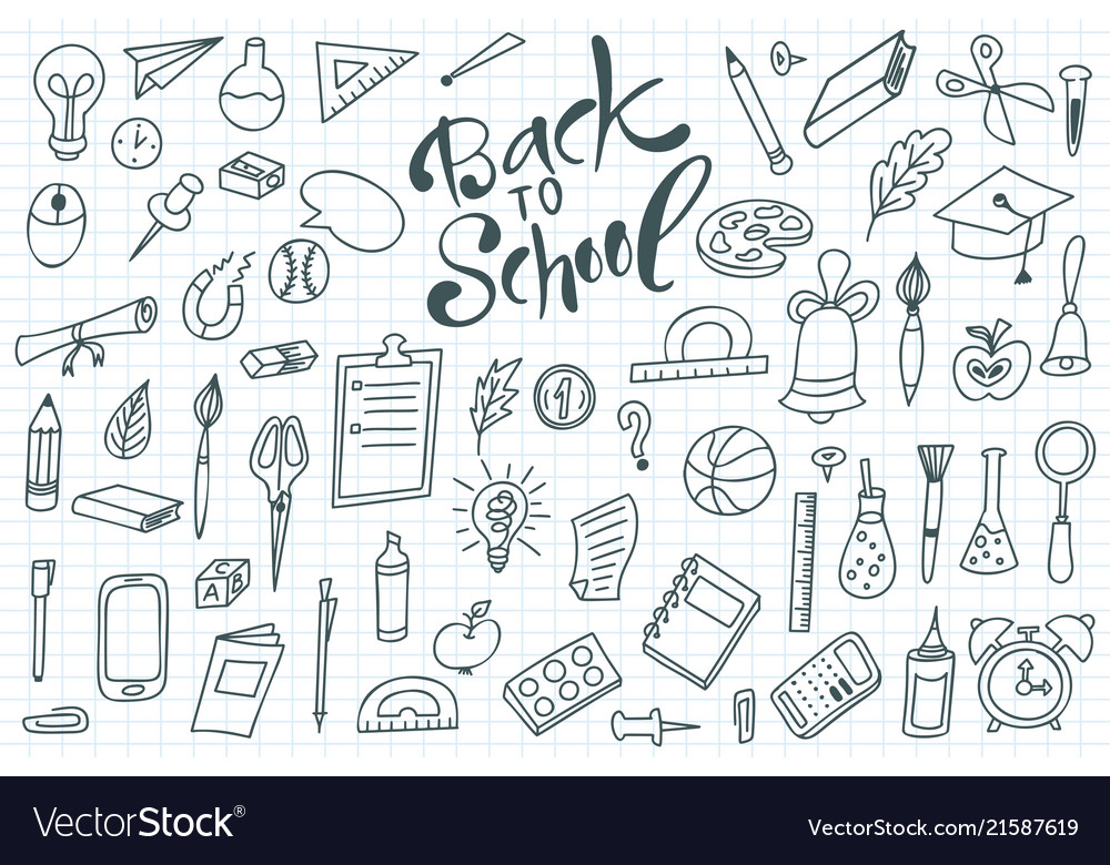 Back to shool design elements hand drawn clipart