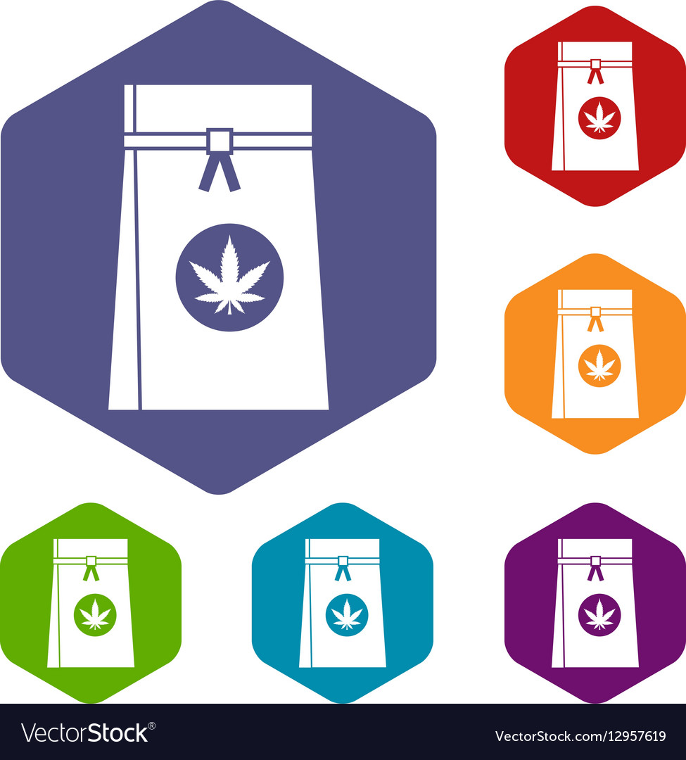 Bag with cannabis icons set