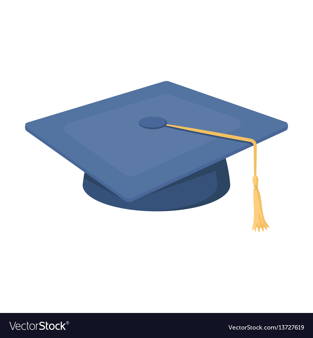 Blue beret with a rope in the center cap student vector image