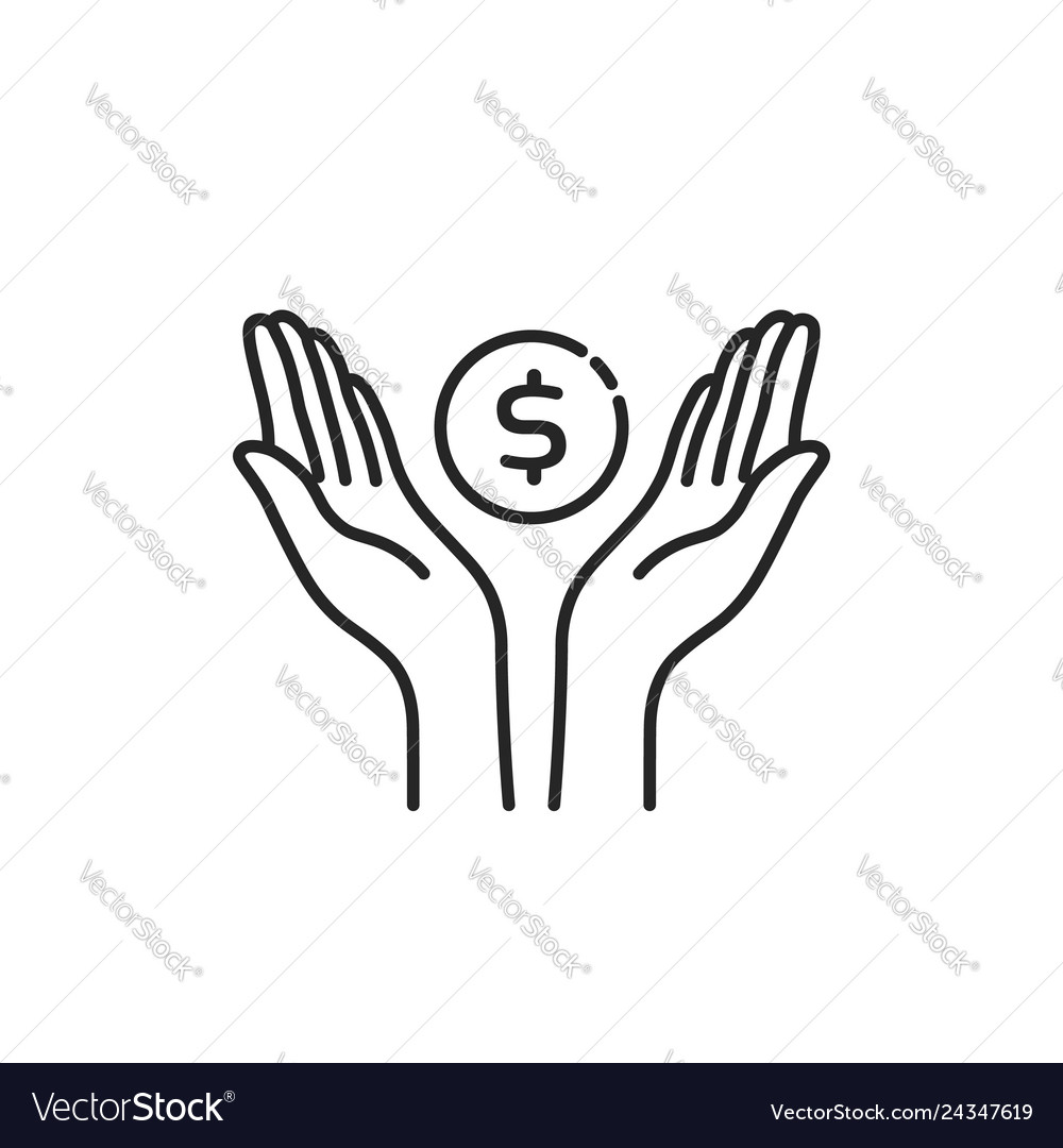 Contour black hands with dollar coin