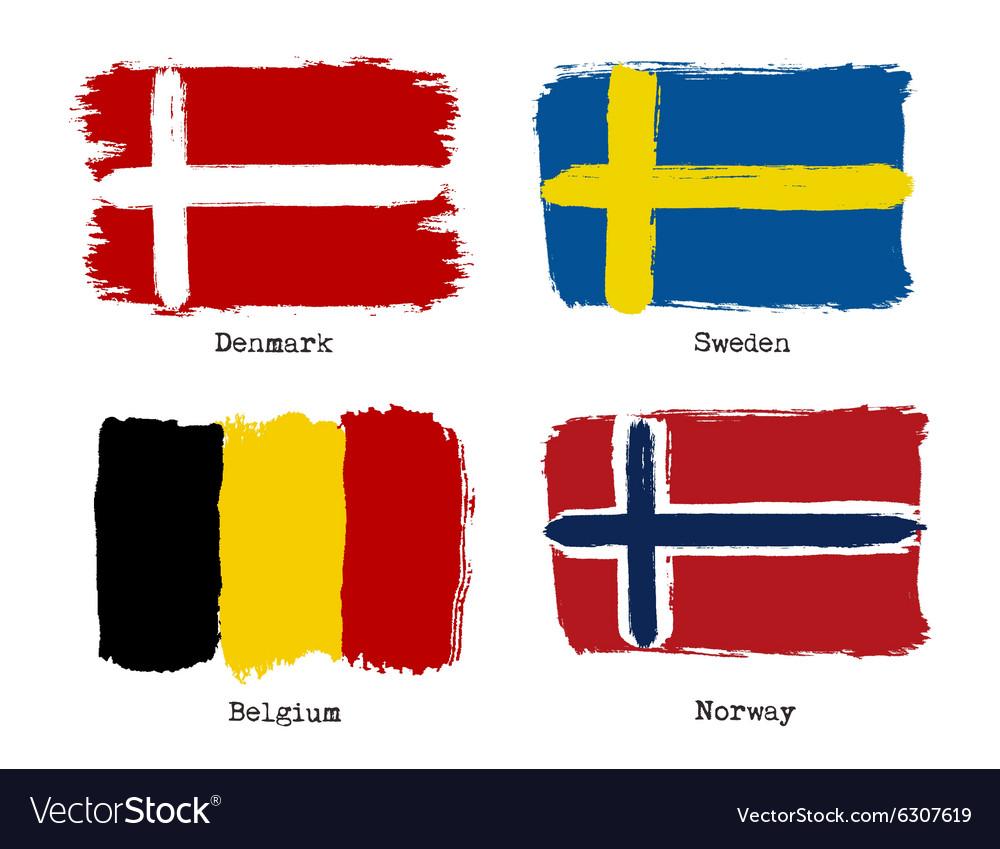 European grunge flags Flags of Denmark Sweden vector image