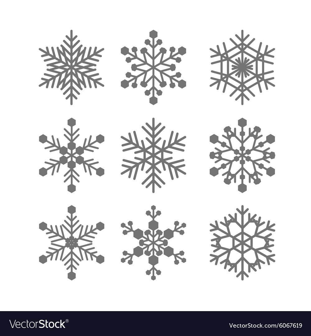 Flat snowflakes set